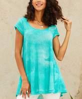 Suzanne Betro Weekend Women's Tunics 102aqua - Aqua Sheer Tie-Dye Pleat-Back Hi-Low Tunic - Women & Plus