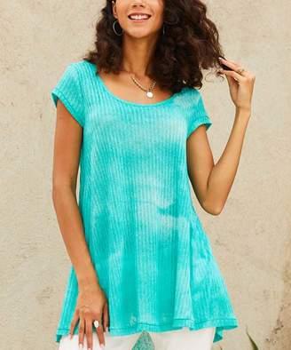 Suzanne Betro Weekend Women's Tunics 102aqua - Aqua Sheer Tie-Dye Pleat-Back Hi-Low Tunic - Women