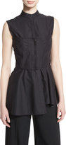 Jason Wu Sleeveless Corset-Seamed Peplum Top, Black