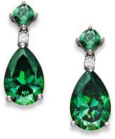 Arabella Sterling Silver Earrings, Green Swarovski Zirconia Drop Earrings (11-9/10 ct. t.w.)