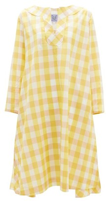 Thierry Colson Samia Gingham-checked Cotton-blend Dress - Womens - Yellow Multi