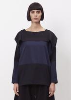Issey Miyake navy fold wool shirt