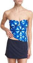 MICHAEL Michael Kors Luna Long Bar Printed Bandini Swim Top, Women's