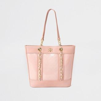 River Island Girls pink monogram shopper bag