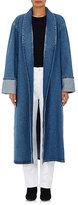 Balenciaga Women's Denim Robe Coat-Blue