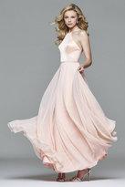Faviana 7761 Satin Halter Chiffon Dress with Rhinestone Waist