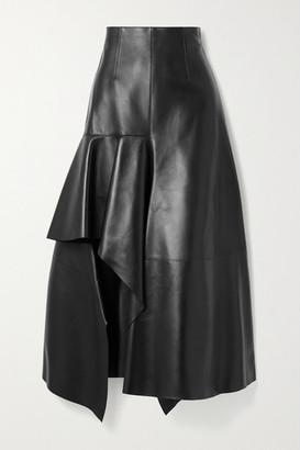Alexander McQueen Draped Leather Skirt - Black