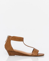 Le Château Leather-Like T-Strap Wedge Sandal