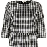 River Island Womens Black and white gingham frill top