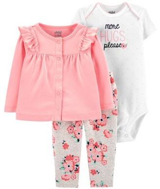 Carter's Child Of Mine By Child of Mine by Long Sleeve Cardigan, Short Sleeve Bodysuit & Pant, 3pc Outfit Set (Baby Girls)