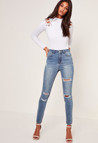 Missguided Blue High Waisted Authentic Ripped Skinny Jeans