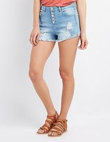 Charlotte Russe Refuge Hi-Rise Cheeky Destroyed Denim Shorts