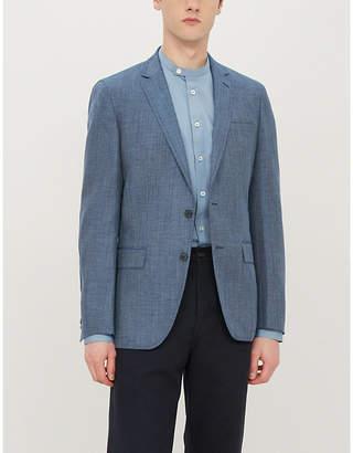 BOSS Elbow patch wool and linen-blend blazer