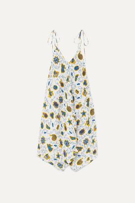 Loewe + Paula's Ibiza Asymmetric Printed Crepon Dress - Blue