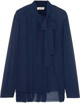 Nina Ricci Pleated silk-chiffon blouse