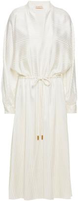 Tory Burch Gathered Silk-blend Jacquard Midi Dress
