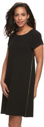 Nina Leonard Women's Zipper-Detail Trapeze Dress