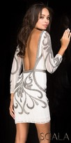 Scala Long Sleeve Scroll Print Open Back Cocktail Dress
