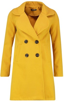 boohoo Double Breasted Collared Wool Look Coat