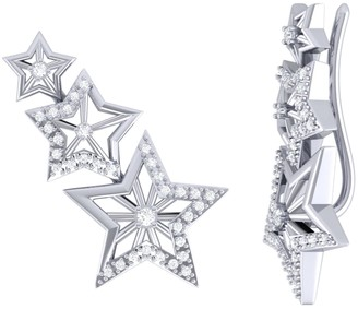 Lmj Starburst Ear Climbers In Sterling Silver