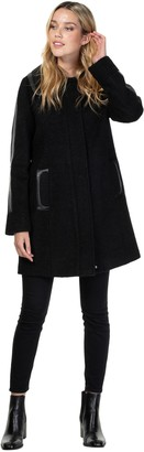 Nuage Boiled Wool Jacket with Faux Leather Trim
