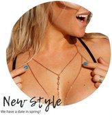 Berrygo Women's Sexy Crossover Harness Bikini Beach Body Chain Jewelry