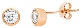 Bliss Cubic Zirconia & Rose Gold Bezel-Set Stud Earrings