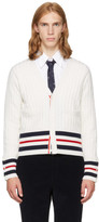 Thom Browne White Cricket Stripe Trompe Loeil V-neck Cardigan