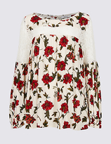 Per Una Lace Floral Print Pleated Blouse