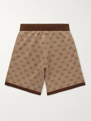 Gucci Wide-Leg Logo-Jacquard Wool And Cotton-Blend Shorts