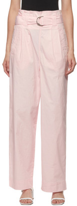 Ganni Pink Paperbag Belted Trousers