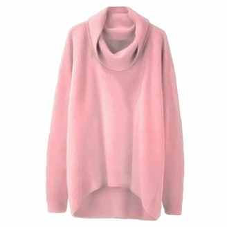 TOPEREUR Women Turtleneck Jumpers Oversized Irregular Hem Long Sleeves Sweater Solid Color High Collar Casual Pullover Top Blouse Pink