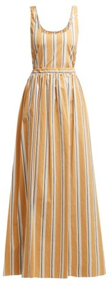 Brock Collection Oriana Striped-cotton Maxi Dress - Womens - Yellow Multi