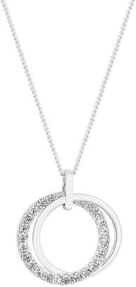 Simply Silver Polished and Cubic Zirconia Double Open Pendant