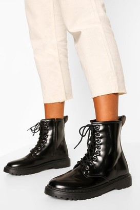 boohoo Wide Fit Lace Up Chunky Hiker Boots