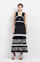 Nicole Miller Embroidered Pollera Mid-Calf Dress