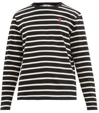 Ami Striped Long Sleeve Cotton T-shirt - Mens - Black Multi