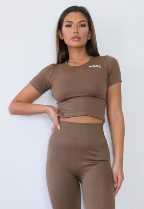 Missguided Brown Msgd Seamless Rib Gym Top
