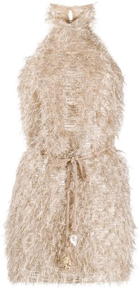Nanushka Metallic Fuzzy Mini Dress