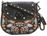Coach embroidered studded saddle bag - women - Cotton/Leather - One Size