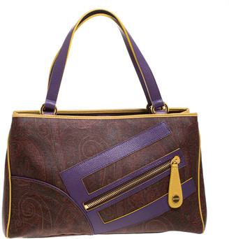 Etro Tri Color Paisley Print Coated Canvas and Leather Logo Tote