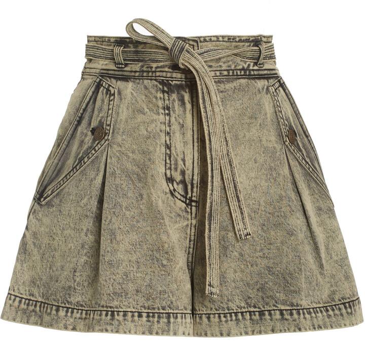 Ulla Johnson Women's Alec Belted Acid-Wash Denim Shorts - Green/purple - Moda Operandi