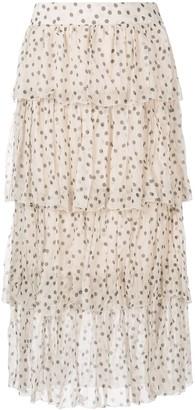 Isabella polka dot tiered skirt