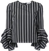 Milly ruffled sleeve top - women - Cotton - 4