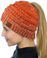 C&C C.C BeanieTail Soft Stretch Cable Knit Messy High Bun Ponytail Beanie Hat