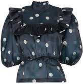 Ganni polka dot satin blouse
