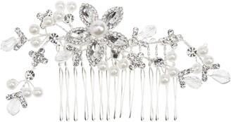L. Erickson Flora Crystal & Imitation Pearl Comb