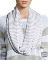 Eileen Fisher Striped Knit Infinity Scarf, White/Dark Pearl