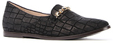 New Kid The Elma Slip Shoe in Black Crocodile Suede