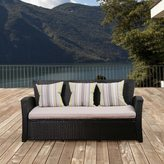 Atlantic Glacier Black Synthetic Wicker 3-Seater Sofa with Light Grey Cushions